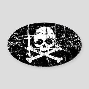 Crackled Skull And Crossbones Oval Car Magnet