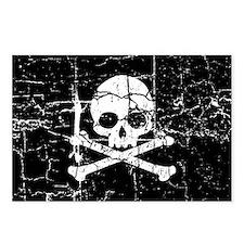 Crackled Skull And Crossbones Postcards (Package o