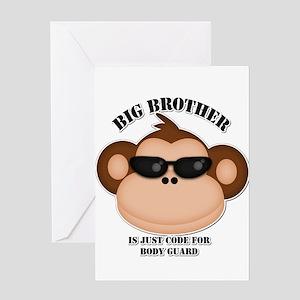 Monkey brother greeting cards cafepress big brother body guard monkey greeting card m4hsunfo