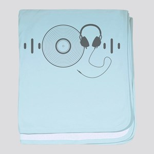Headphones with Vinyl Record in Grey baby blanket