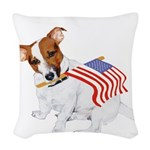 Jack Russell With USA Flag Woven Throw Pillow