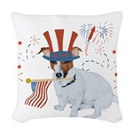 JRT with USA Flag Woven Throw Pillow
