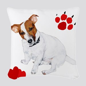 I heart my Jack Russell black Woven Throw Pill