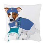 JRT Humor Doctor Dog Woven Throw Pillow