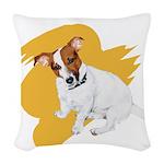 JRT Orange Burst Logo Woven Throw Pillow