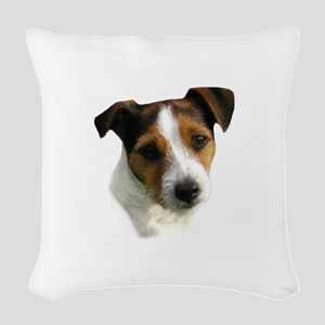 jack russell watercolor Woven Throw Pillow