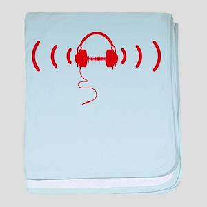 Headphones with Loud Music in Red baby blanket