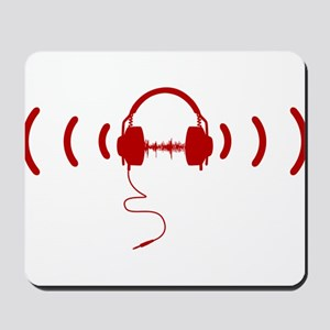 Headphones with Loud Music in Red Mousepad
