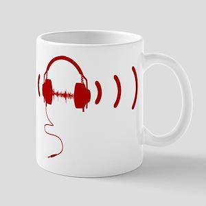 Headphones with Loud Music in Red Mug