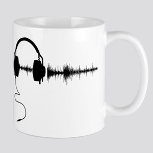Headphones with Soundwave Spikes in Black Mug