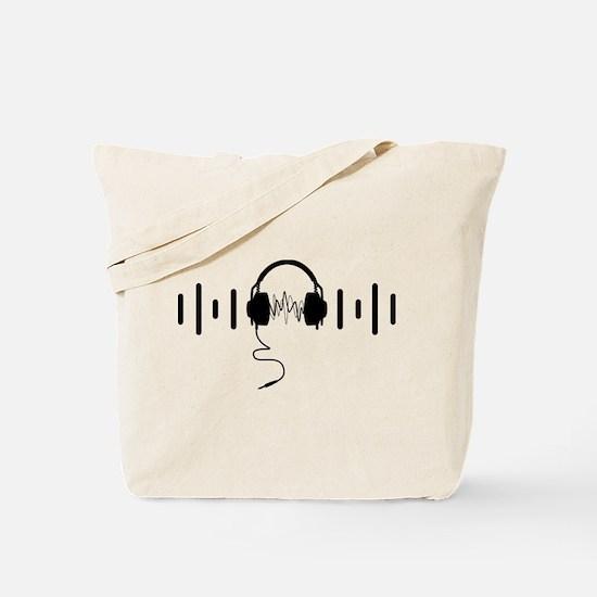 Headphones with Audio Bar Waves in Black Tote Bag