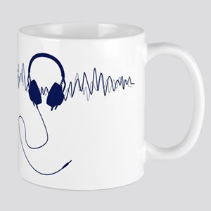 Headphones with Soundwaves Visual in Navy Blue Mug