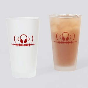 Headphones with Soundwaves and Audio in Red Drinki