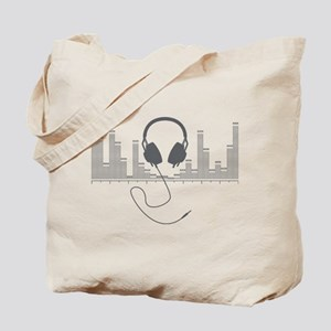 Headphones with Audio Bar Graph in Grey Tote Bag