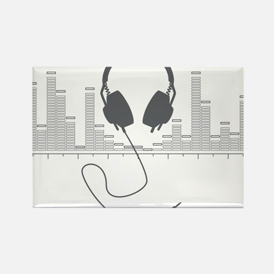 Headphones with Audio Bar Graph in Grey Rectangle