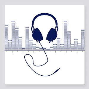 Headphones with Audio Bar Graph in Navy Blue Squar