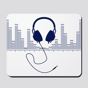 Headphones with Audio Bar Graph in Navy Blue Mouse