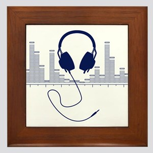 Headphones with Audio Bar Graph in Navy Blue Frame