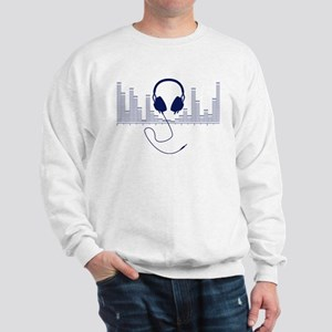 Headphones with Audio Bar Graph in Navy Blue Sweat