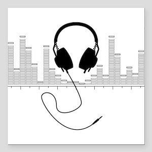Headphones with Audio Bar Graph in Black Square Ca