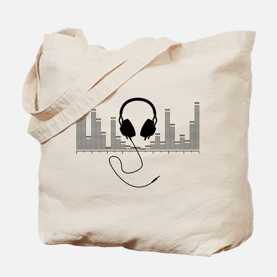 Headphones with Audio Bar Graph in Black Tote Bag