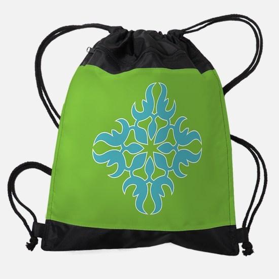 Blue Jade Tropical Quilt Square Drawstring Bag