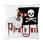 pirate jack russell2 Woven Throw Pillow
