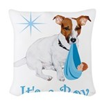 Jack Russell, It's A Boy Gifts Woven Throw Pillow