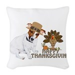 Jack Russell Terrier and The Turkey on Woven Throw