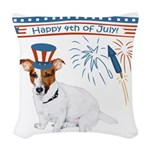 Happy 4th of July Woven Throw Pillow