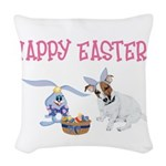Jack Russell and Easter Bunny Woven Throw Pillow
