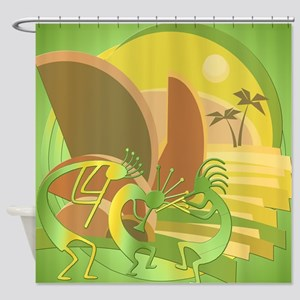 Kokopelli Island Green Shower Curtain