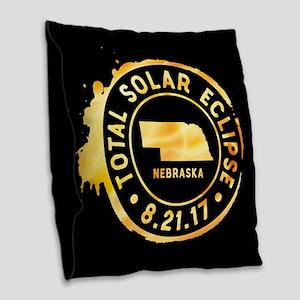 Eclipse Nebraska Burlap Throw Pillow