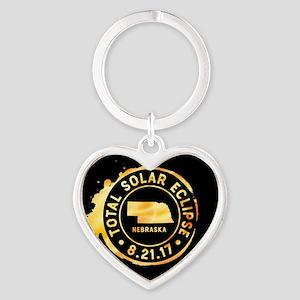 Eclipse Nebraska Heart Keychain