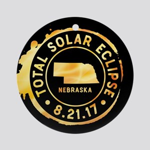 Eclipse Nebraska Round Ornament