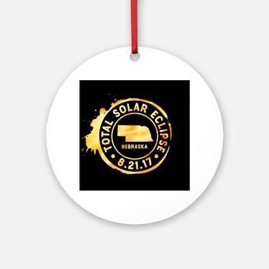 Eclipse Nebraska Round Ornament