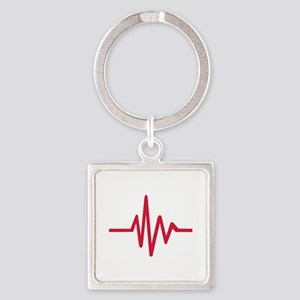 Frequency pulse heartbeat Square Keychain