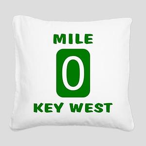 Mile 0 Key West Florida Square Canvas Pillow