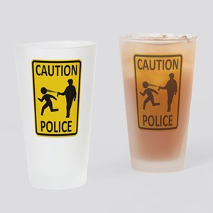 Caution Police Multi-Color Drinking Glass