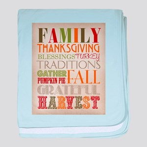 Happy Thanksgiving Subway Art baby blanket