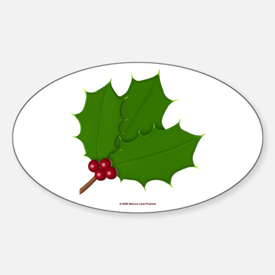 Christmas Holly-days Oval Decal