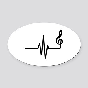 Frequency music note Oval Car Magnet