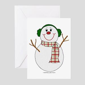 Snowman Christmas Earmuffs Cards (Pk of 10)