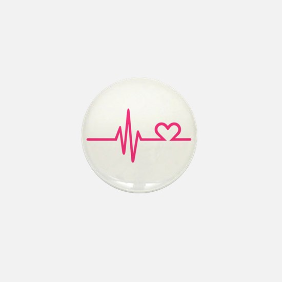Frequency pink heart Mini Button
