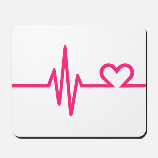 Frequency pink heart Mousepad
