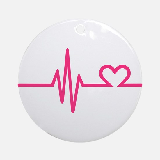 Frequency pink heart Ornament (Round)