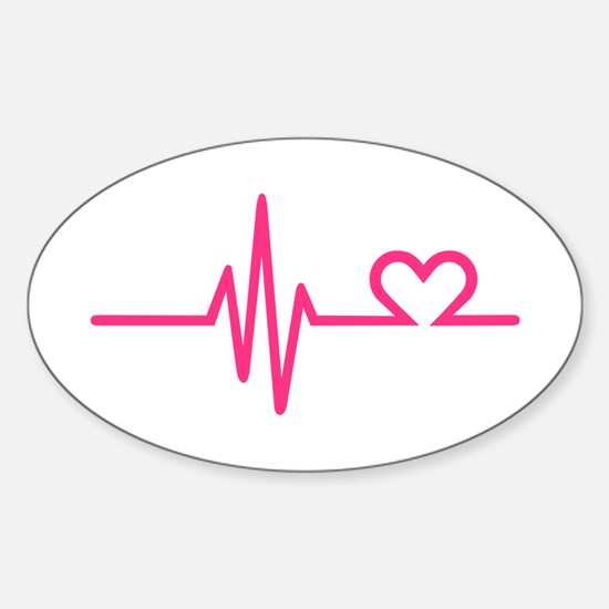 Frequency pink heart Sticker (Oval)