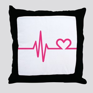 Frequency pink heart Throw Pillow