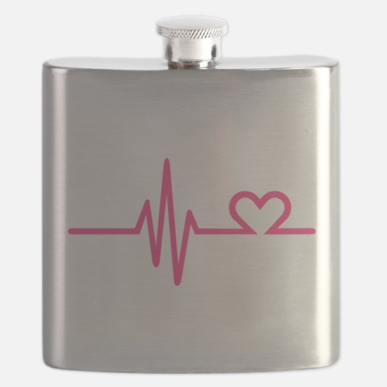 Frequency pink heart Flask