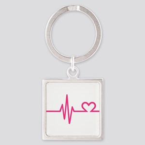 Frequency pink heart Square Keychain